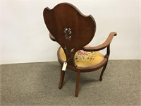Art Nouveau Carved chair with needle point seat