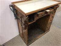 Antique oak watch makers cabinet
