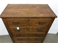 Antique oak tall chest