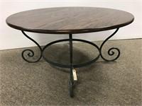 Modern round oak top low table