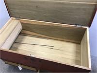 Antique dovetailed pine blanket chest