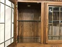 Modern oak lighted china cabinet