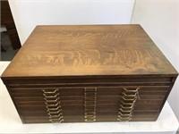 Antique oak table top document cabinet