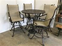 5 piece cafe style metal patio set