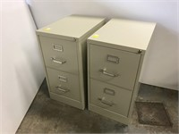 Two metal file cabinets