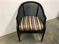 Painted bamboo arm chair with stripped seat