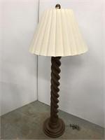 Turned wooden floor lamp