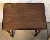 Small Vintage Walnut Stand With Repaired Top