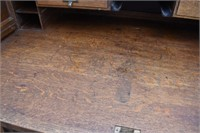 Antique Oak Railroad Style Roll Top Desk