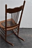 Oak Pressed Back Rocker w Embossed Leather Seat