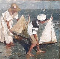 """CW Mundy, 36x36 oil, """"Afternoon Sail"""""""