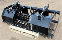 Lot 5036 - Skid Steer Rock & Brush Grapple, new.  Absentee bidding available on this item. Click catalog tab for more information & pictures.