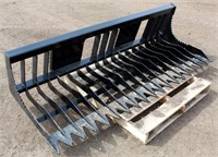 Lot 5037 - Skid Steer Rock Bucket, new.  Absentee bidding available on this item. Click catalog tab for more information & pictures.