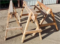 (3) Wood Saw Horses