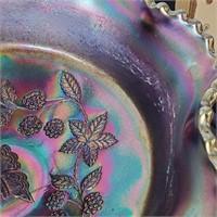 Fenton Carnival Blue Butterfly & Berry 3 Foot Bowl