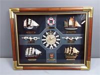 Framed Sailboats Clock