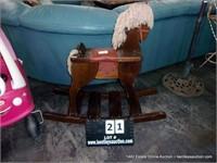 DARK STAINED ASH CRAFTMADE WOODEN ROCKING HORSE