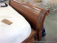 EOS: BURLED OAK KING SIZE SLEIGH BED W/ UNDER