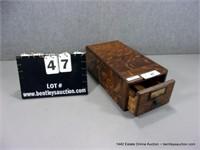 ANTIQUE TIGER OAK CARD FILE BOX