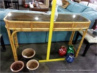 SMOKED GLASS TOPPED RATTAN & CANE SOFA TABLE