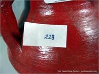 RUSTIC RED GLAZED EGYPTIAN TERRA COTTA OLIVE JAR /