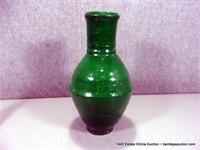 RUSTIC GREEN GLAZED EGYPTIAN TERRA COTTA OLIVE JAR