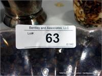 LOT: SMALL SILVER PLATE FRUIT BOWL, CUSTOM CROSS K
