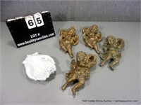 LOT (5): 4- GOLDEN PAINTED DECORATIVE CHERUBS & WH