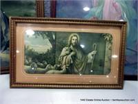 LOT (3): VINTAGE WOOD FRAMED RELIGIOUS POINTS