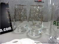 BOX: MIXED SIZED GLASS CUPS, VASES & STEMS