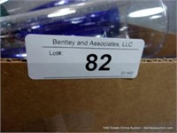 BOX: ASSORTED POLY DRINKING CUPS - BLUE & CLEAR