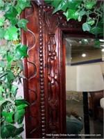 INDONESIAN MAHOGANY FRAMED CARVED BEVELED WALL MIR