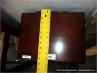 RED STAINED ASH 5-DRAWER VELVET LINED FLIP TOP JEW