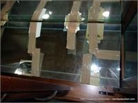 PULASKI ORIENTAL STYLED BAMBOO LIGHT WALNUT CURIO