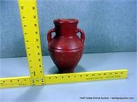RUSTIC RED GLAZED TERRA COTTA OLIVE JAR / VASE