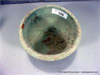 RUSTIC GREEN GLAZED TERRA COTTA FLOWER POT / BOWL