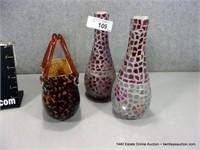 LOT (3): LEOPARD PATTERN BLOWN ART GLASS PURSE, 2-