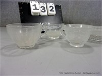 LOT (4): CLEAR PRESSED GLASS - PLATTER & 3 - SMALL