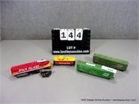 LOT (4): SMALL HO SCALE TOY TRAIN CARS, ROCK ISLAN