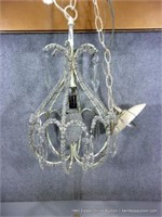 SMALL WHITE WIRE FRAMED GLASS BEADED HANGING LIGHT
