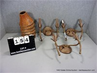 LOT (3): ANTIQUES BRASS PAINTED WALL SCONCE LIGHT