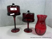 LOT (3): CRANBERRY / RUBY RED ART GLASS, 2 - TALL