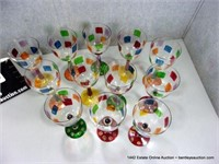 LOT (14): PAINTED ARTISTIC TALL STEMMED GLASSES