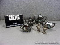 LOT (6): PIECES OF SILVER TONED & PEWTER DECORATIV