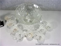 LOT: FOSTORIA CLEAR PRESSED GLASS PUNCH BOWL & CUP