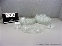 CLEAR PRESSED GLASS FRUIT PATTERN SNACK PLATE SETS