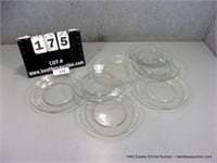 LOT (7): CLEAR ETCHED FLORAL CAKE PLATES