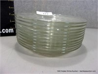 LOT (11): CLEAR ETCHED BERRY PATTERN CAKE PLATES