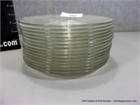 LOT (15): CLEAR NON-ETCHED PLAIN GLASS CAKE PLATES