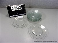 LOT (12): CLEAR CUT FLORAL PATTERN GLASS CAKE PLAT